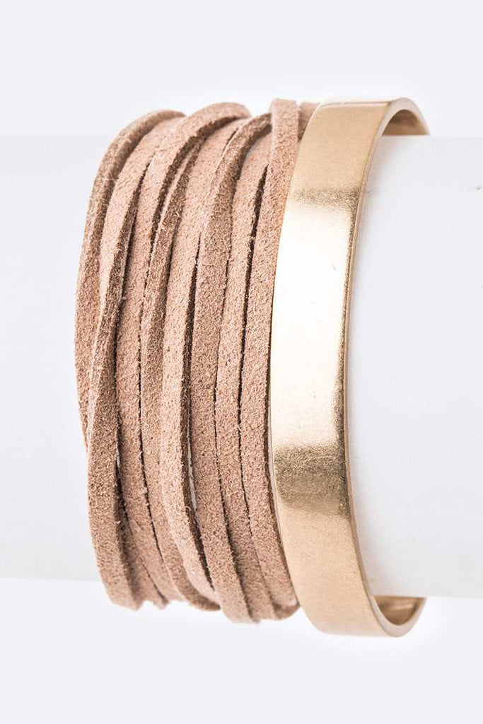 Metal Cuff Suede Wrapped Bracelet