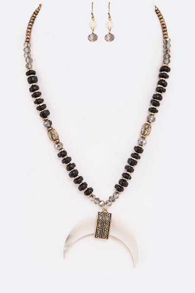 Genuine Horn Pendant Mix Beads Necklace Set