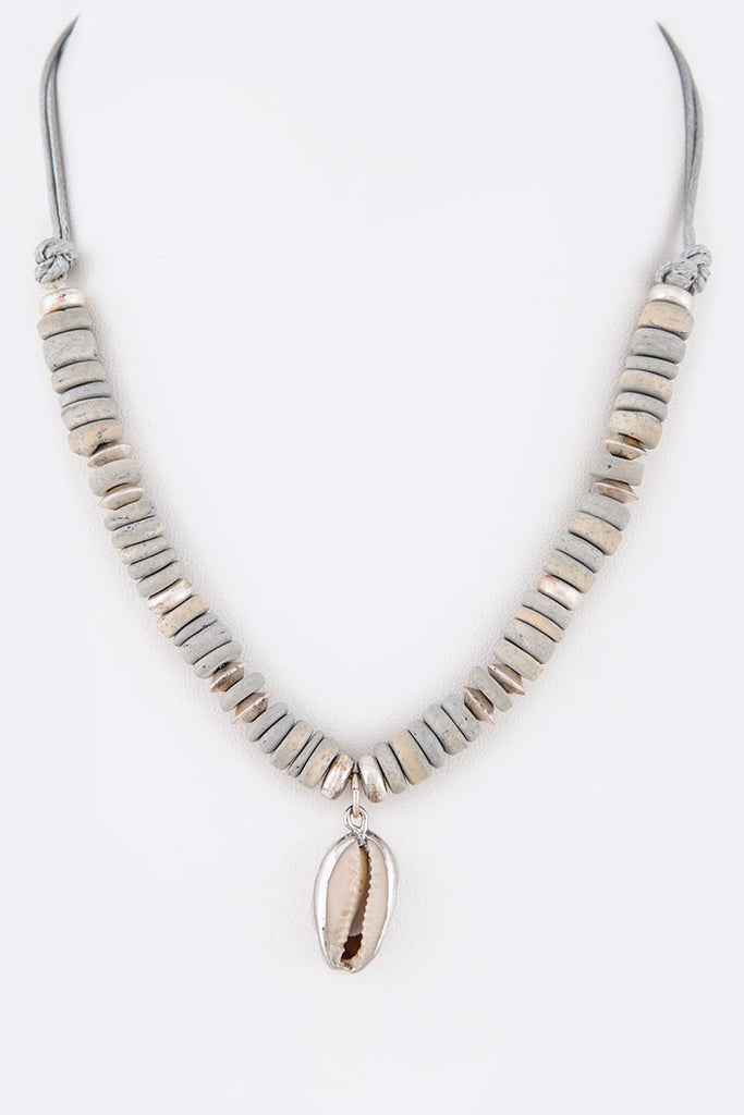 Wood Disk Sea Shell Pendant Necklace