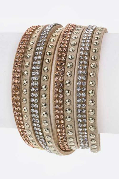 Mix Studs Slit Layer Cuff