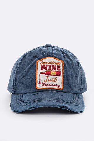 Wine Embroidery Cotton Cap