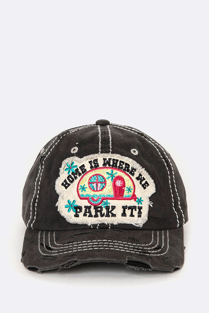 Home Embroidered Patch Distress Cotton Cap