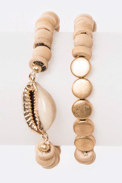 Sea Shell Wooden Beads Stretch Bracelet