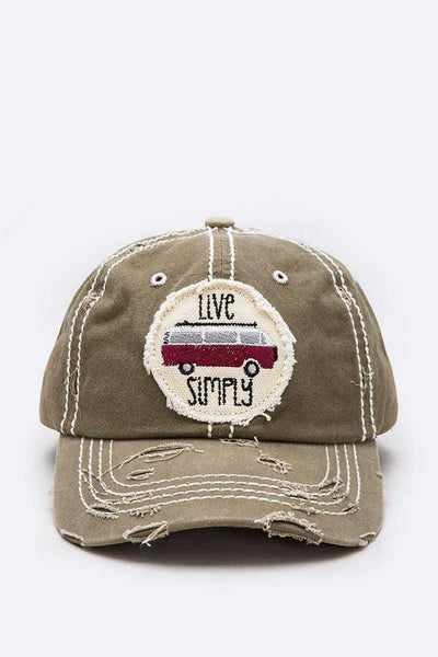Live Simply Vintage Embroidered Cotton Cap