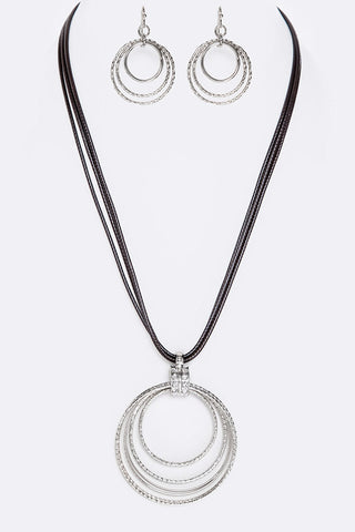 Crystal & Metal Hoops Layer Necklace Set