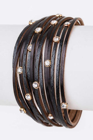 Magnetic Slash Leather Crystal Studs Bracelet