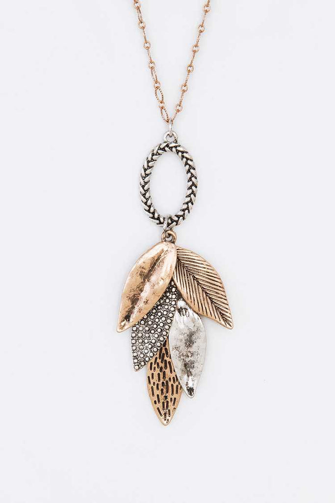 Mix Textured Leaf Pendant Necklace