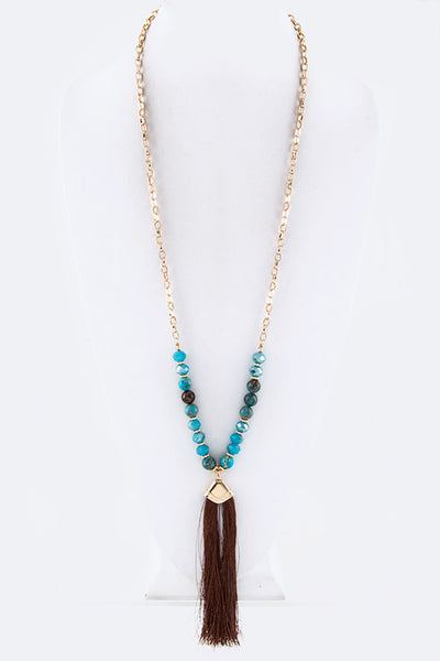 Precious Beads & Tassel Long Necklace