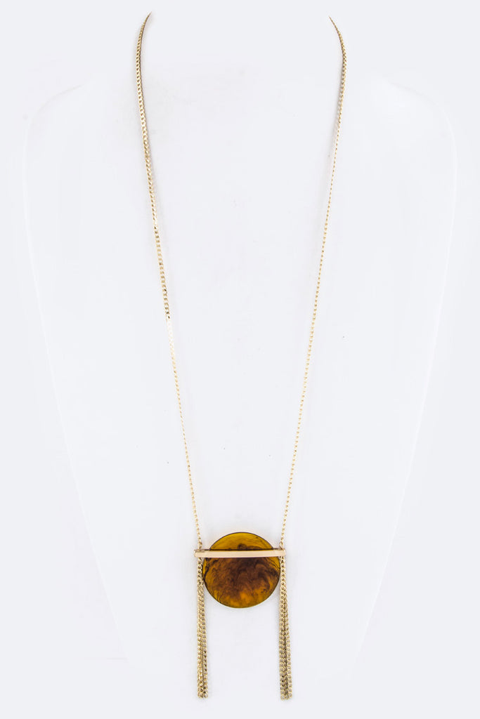 Resin Disk & Fringe Chains Pendant Necklace