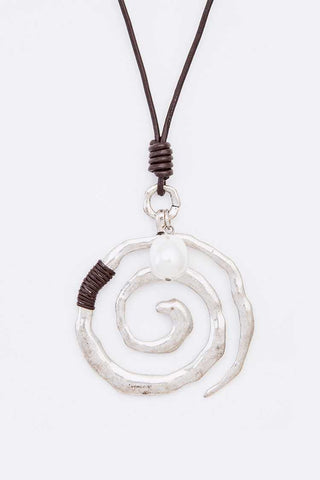 Swirl Leather Cording Pendant Necklace
