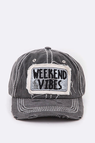 Weekend Vibes Glittered Distressed Cap