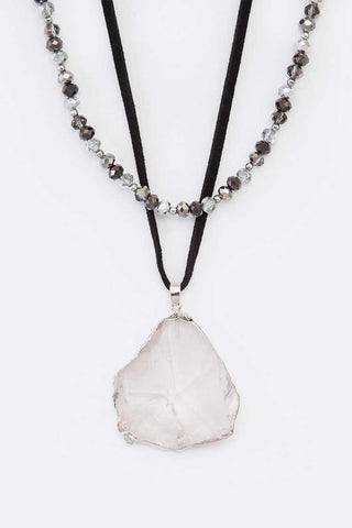 Quartz Pendant Layered Necklace
