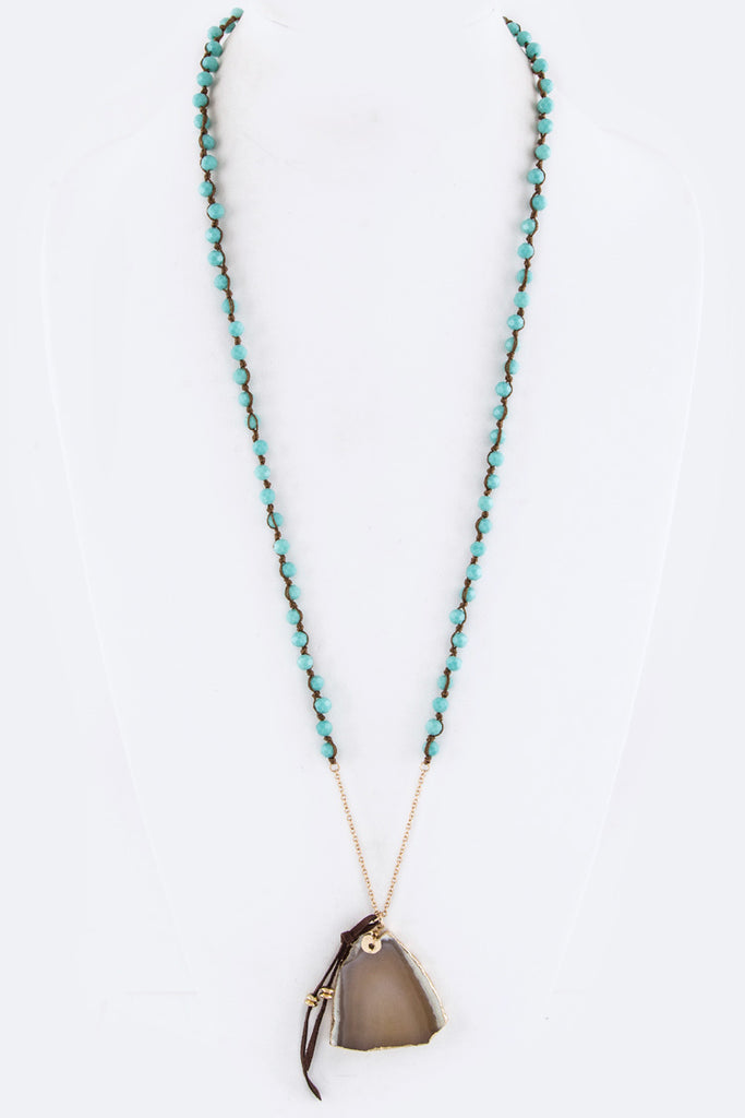 Beads & Agate Stone Pendant Necklace