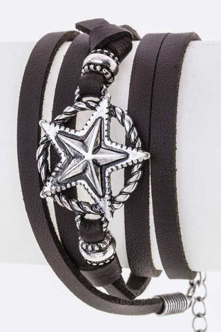 Star Charm Wrapped Leather Bracelet