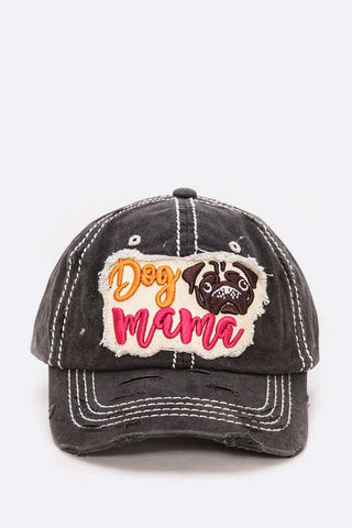 Dog Mama Embroidered Distress Cotton Cap