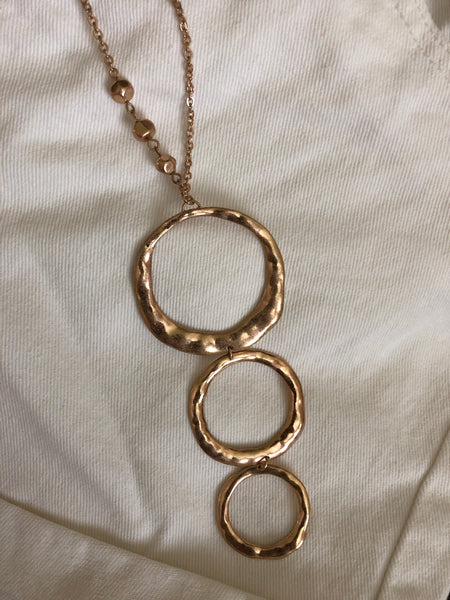 Hammered Ring Pendant Necklace