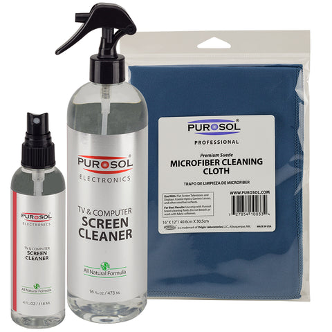 Purosol Screen Cleaning Kit w/ Large Microfiber Cloth