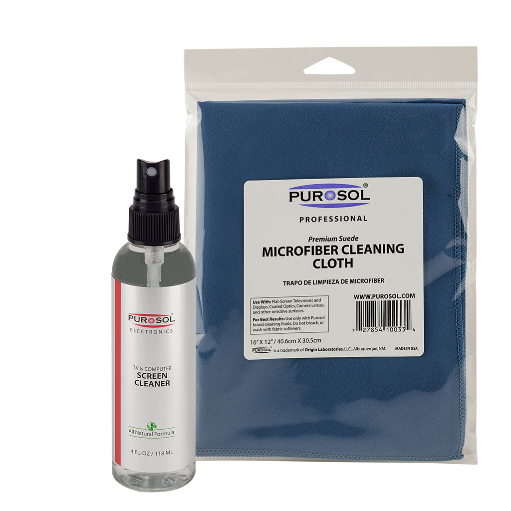 Purosol Screen Cleaning Kit w/ Large Microfiber Cloth - Purosol Professional Lens and Screen Cleaner