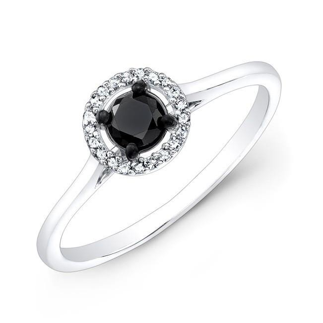 Jewels By Royal - Black Diamond Halo Engagement Ring (27589BW)