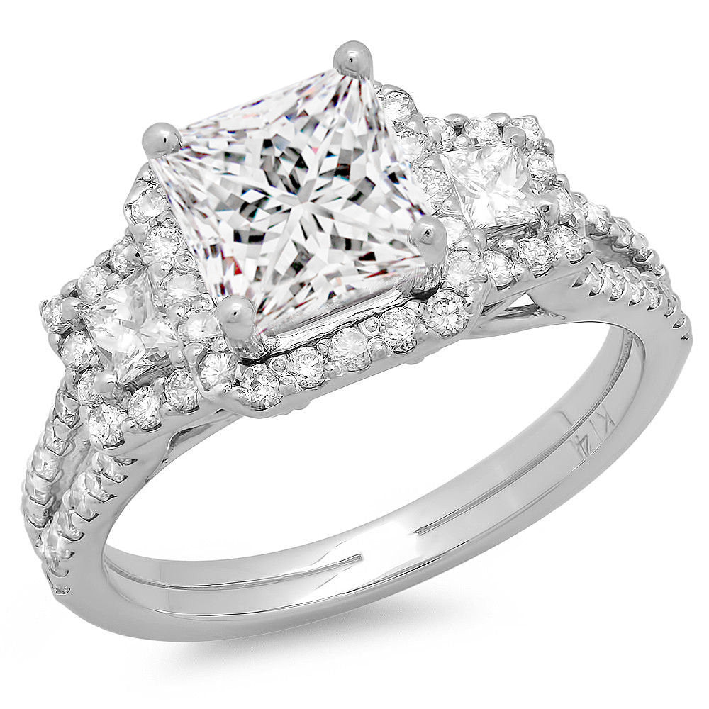 Jewels By Royal - Princess Cut Three Stone Engagement Ring (PM71023)