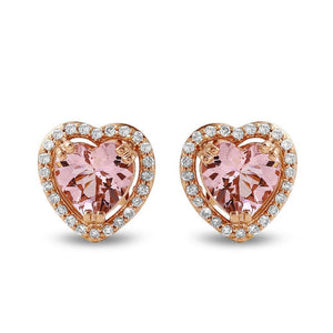Jewels By Royal - Heart Shaped Morganite & Diamond Earrings