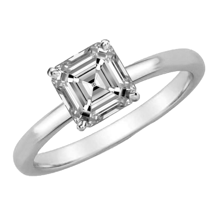 1/4 CARAT ASSCHER-CUT DIAMOND SOLITAIRE RING (F, VS) - Eternity Diamond Rings