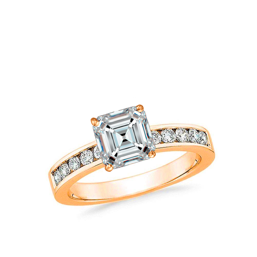 3/4 CARAT ASSCHER-CUT DIAMOND (F+, VS) SOLITAIRE ENGAGEMENT RING 4-PRONG PRONG WITH 1/5 CARAT SIDE STONES - Eternity Diamond Rings
