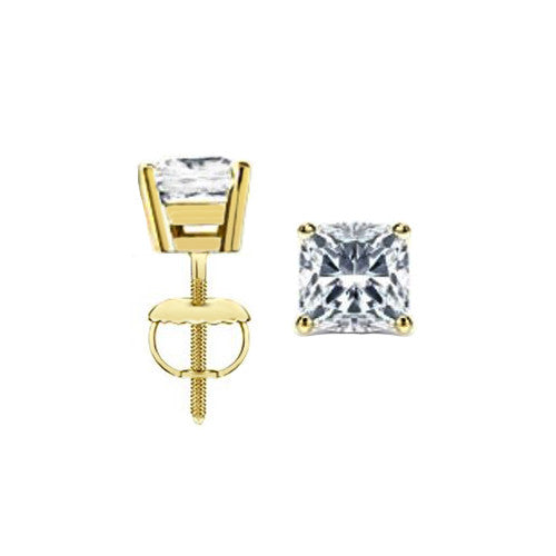 Jewels By Royal - Cushion Cut Diamond Stud Earrings (CUSTBASK)