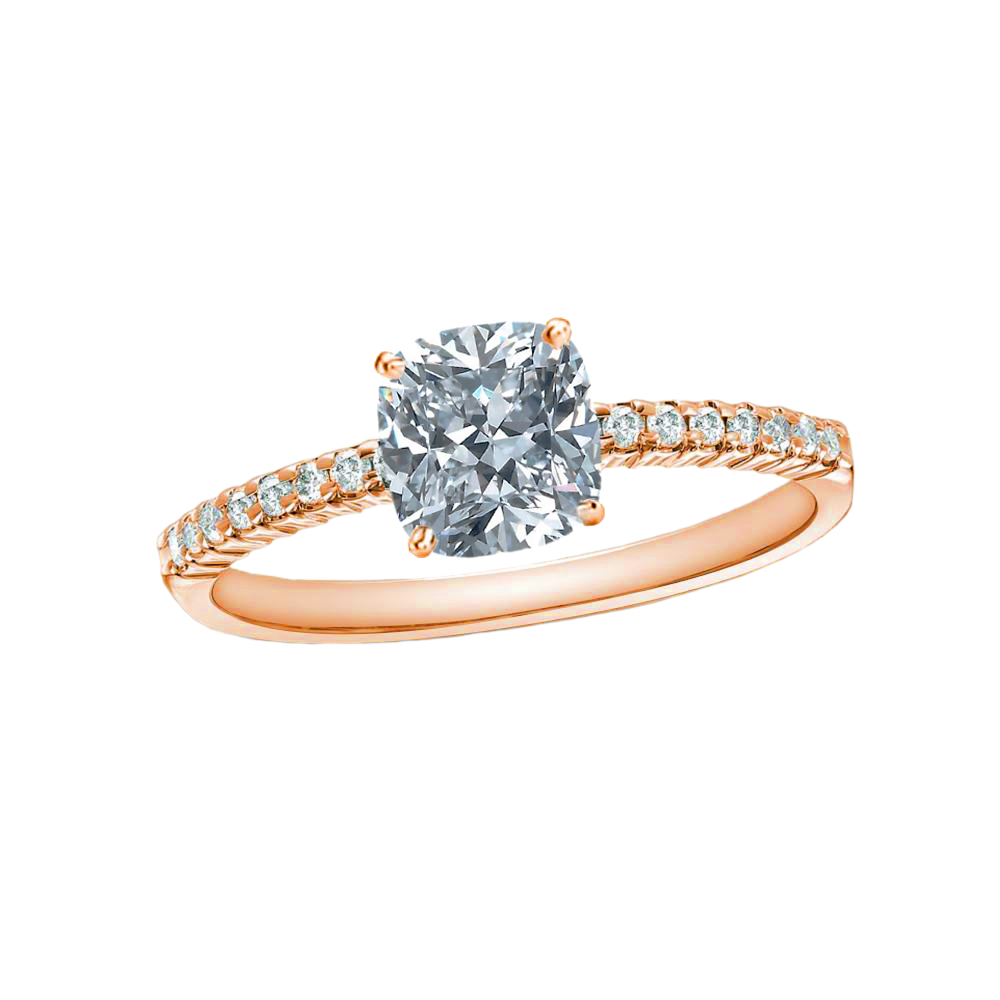 1 CARAT CUSHION-CUT DIAMOND (F+, VS) SOLITAIRE ENGAGEMENT RING 4-PRONG WITH 1/5 CARAT SIDE STONES - Eternity Diamond Rings