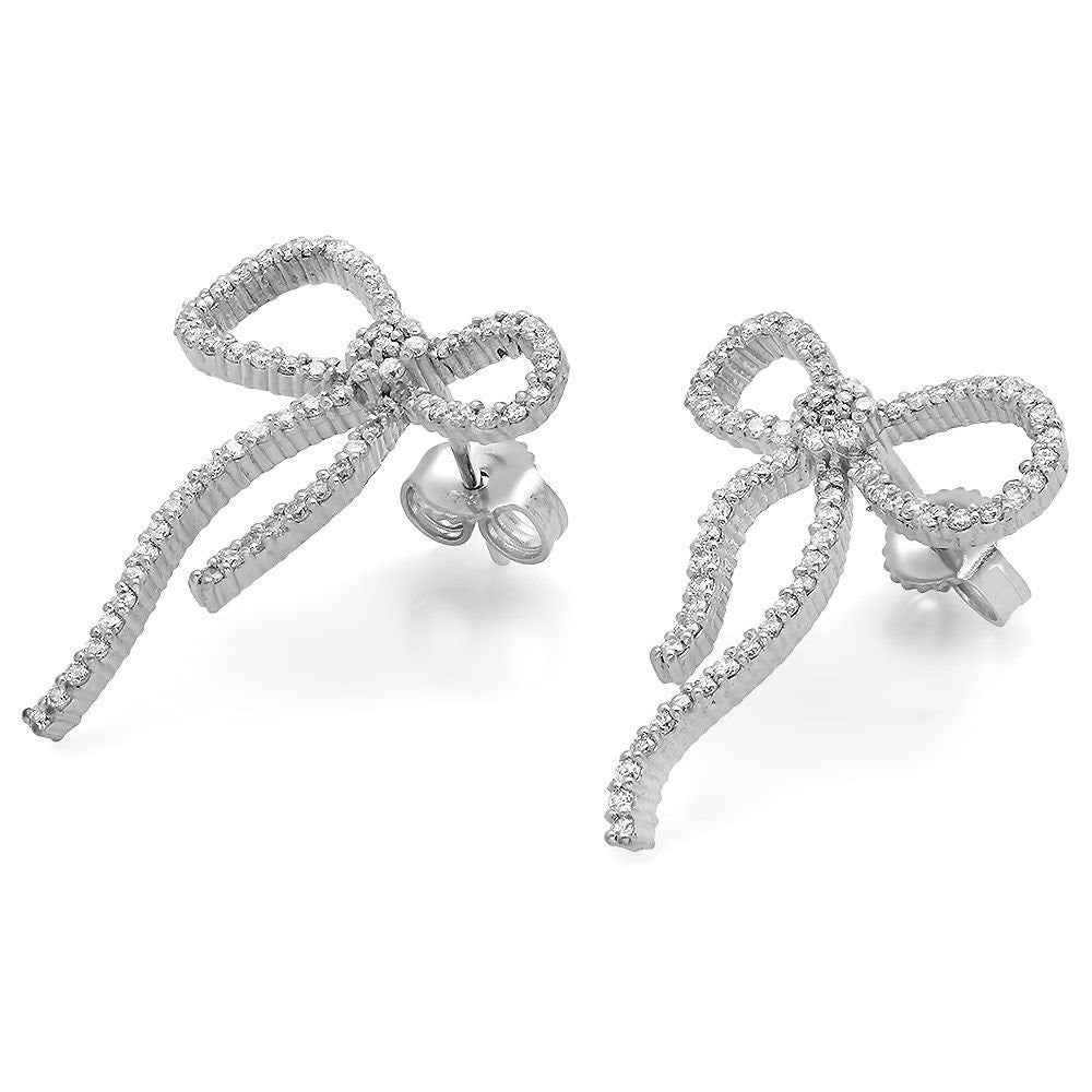 Jewels By Royal - Fancy Ribbon Pave Diamond Earrings (PMI72895)