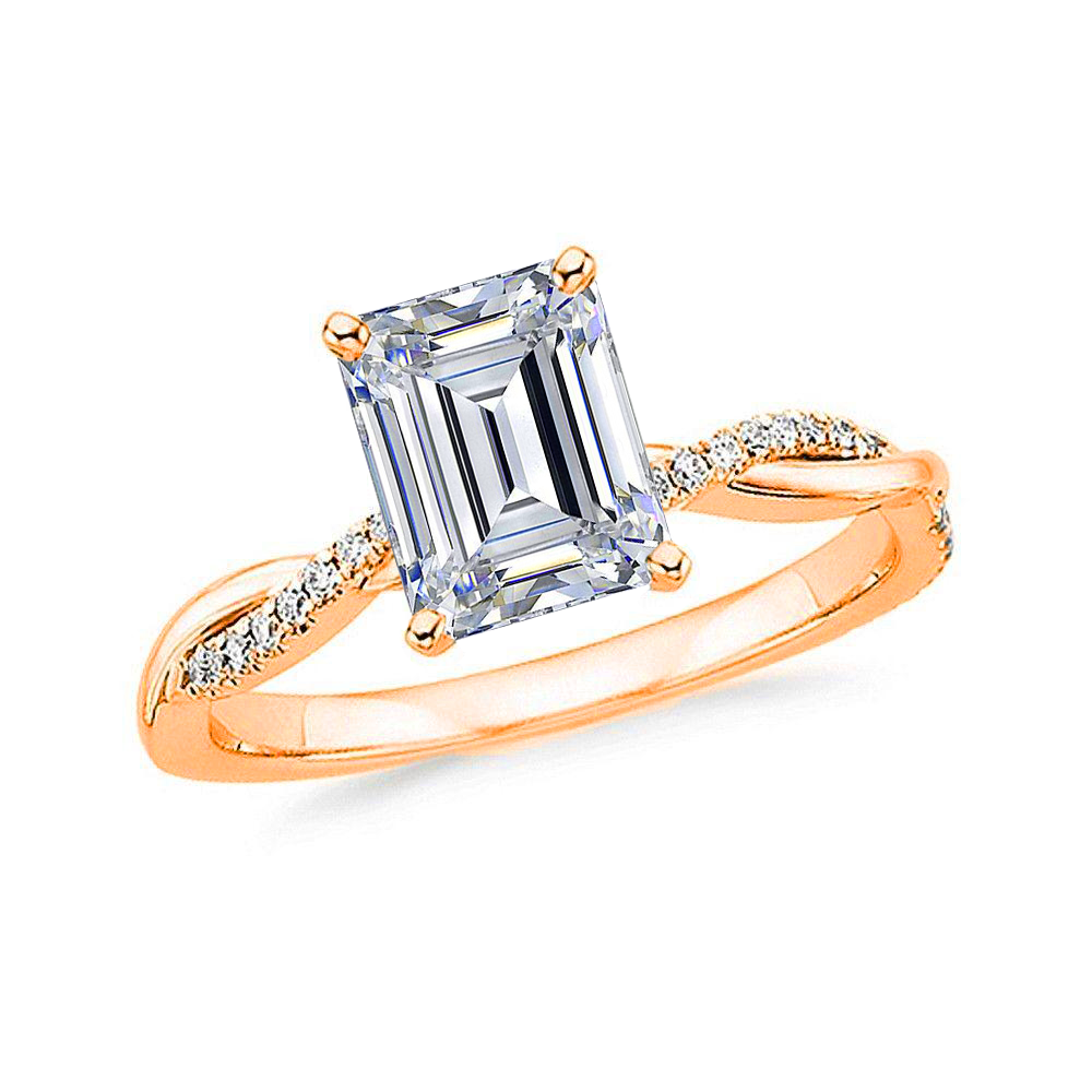 1 CARAT EMERALD-CUT DIAMOND (F+, VS) SOLITAIRE ENGAGEMENT RING 4-PRONG PRONG WITH 1/5 CARAT SIDE STONES IN TWISTED SPLIT-SHANK - Eternity Diamond Rings
