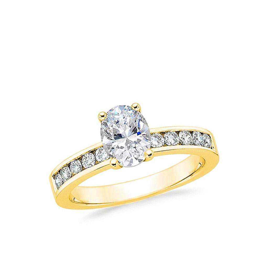 1/2 CARAT OVAL-CUT DIAMOND (F+, VS) SOLITAIRE ENGAGEMENT RING 4-PRONG PRONG WITH 1/5 CARAT SIDE STONES - Eternity Diamond Rings