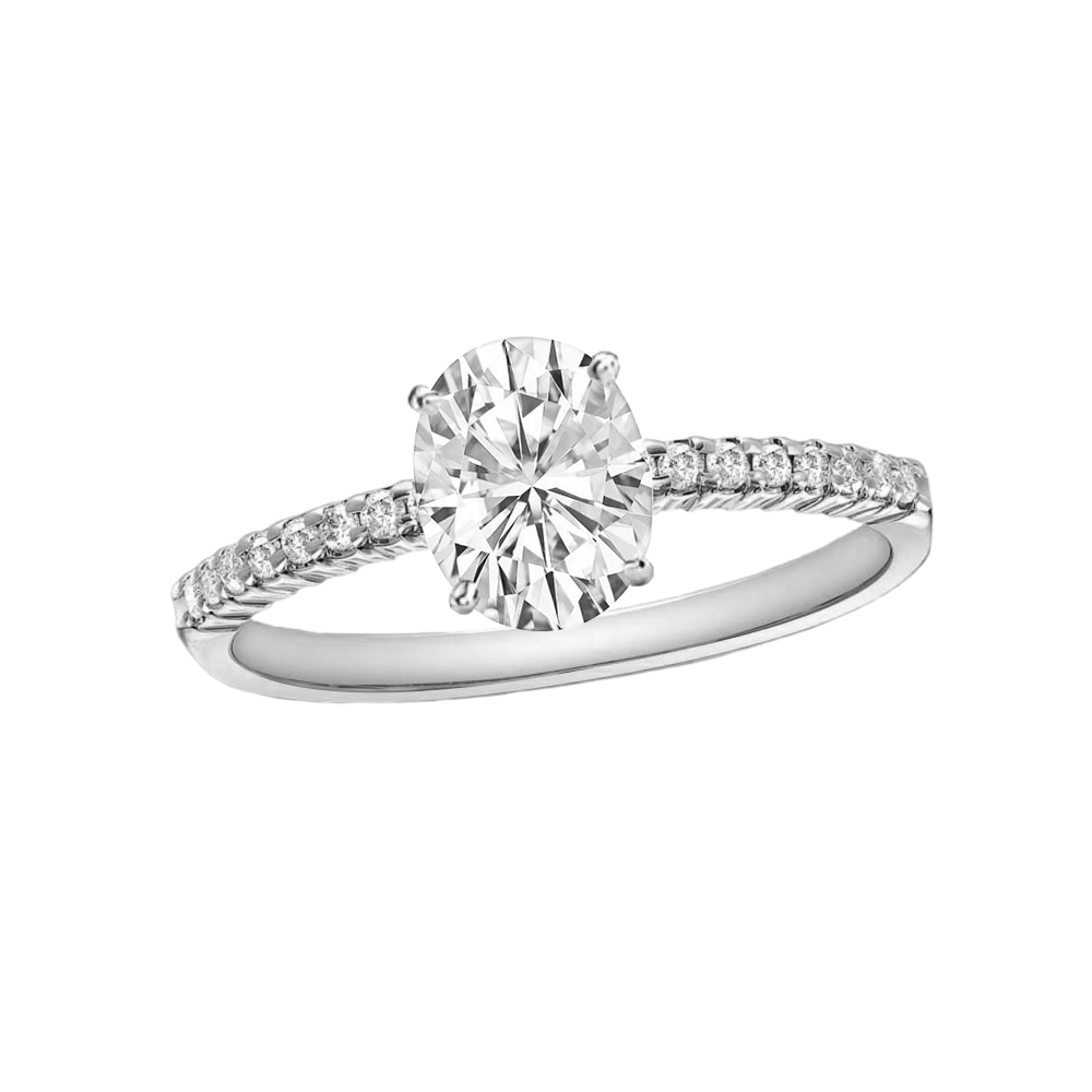 1/2 CARAT OVAL-CUT DIAMOND (G-H, SI) SOLITAIRE ENGAGEMENT RING 4-PRONG WITH 1/5 CARAT SIDE STONES - Eternity Diamond Rings