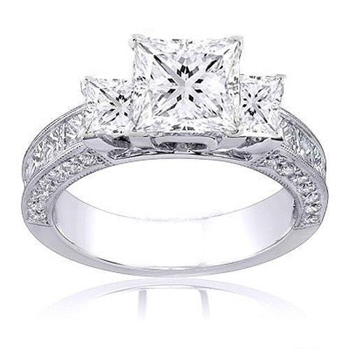 Jewels By Royal - Princess Cut Diamond Three Stone Ring (PRENG06)