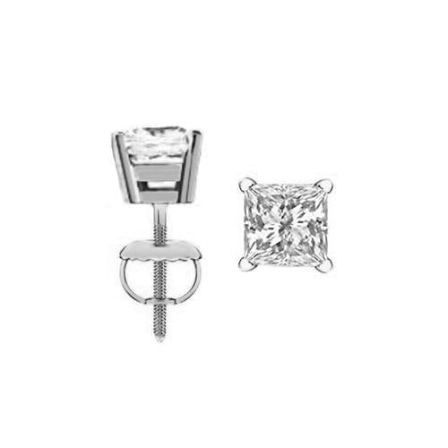Eternity Diamond Rings - Princess Cut Diamond Stud Earrings (PR100CT-531)