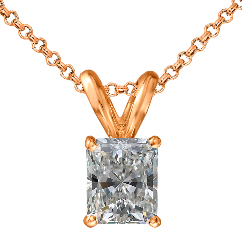 RADIANT-CUT DIAMOND SOLITAIRE 4-PRONG PENDANT (G-H, SI) - Eternity Diamond Rings