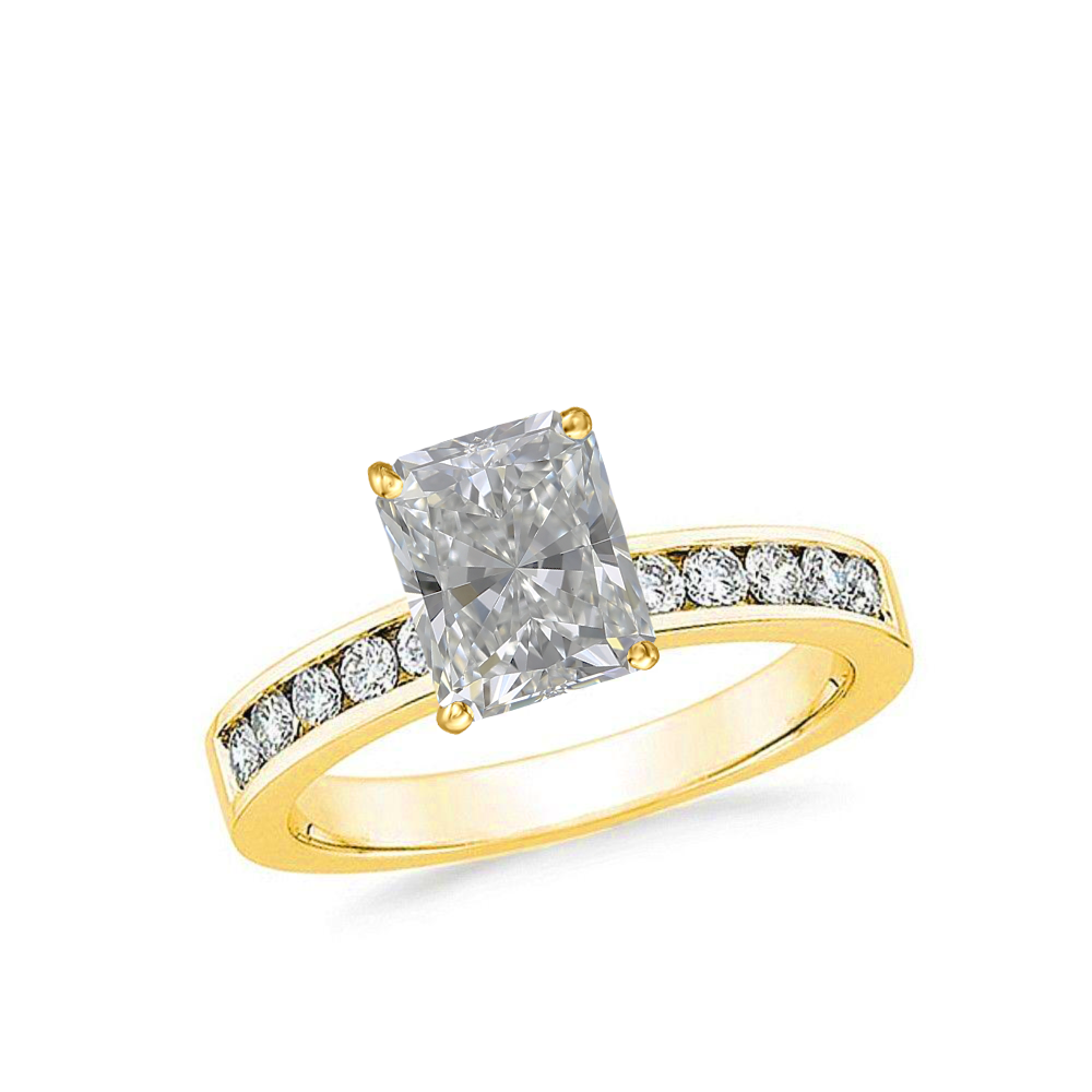 1 CARAT RADIANT-CUT DIAMOND (G-H, SI) SOLITAIRE ENGAGEMENT RING 4-PRONG PRONG WITH 1/5 CARAT SIDE STONES - Eternity Diamond Rings