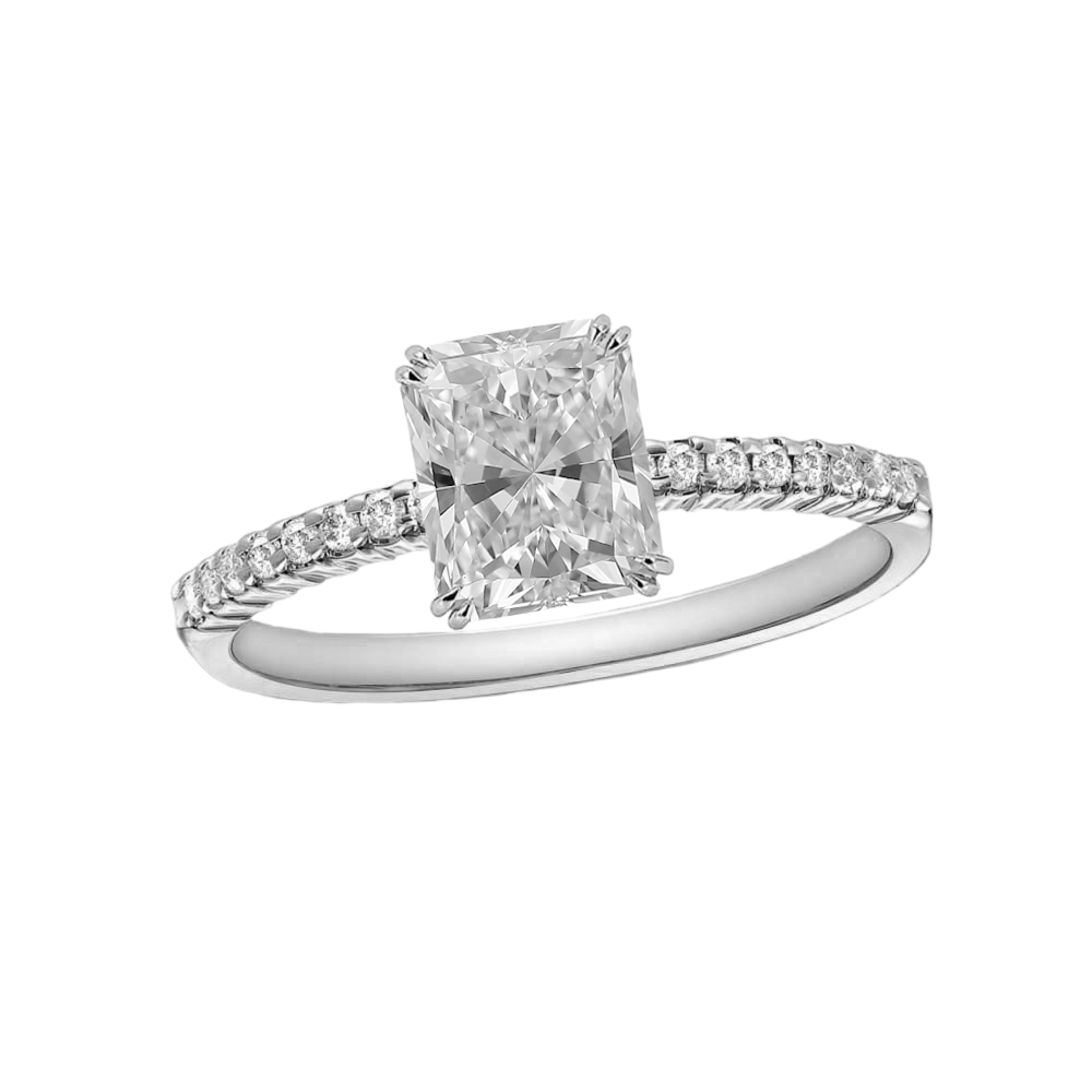 1 CARAT RADIANT-CUT DIAMOND (F+, VS) SOLITAIRE ENGAGEMENT RING EAGLE CLAW PRONG WITH 1/5 CARAT SIDE STONES - Eternity Diamond Rings