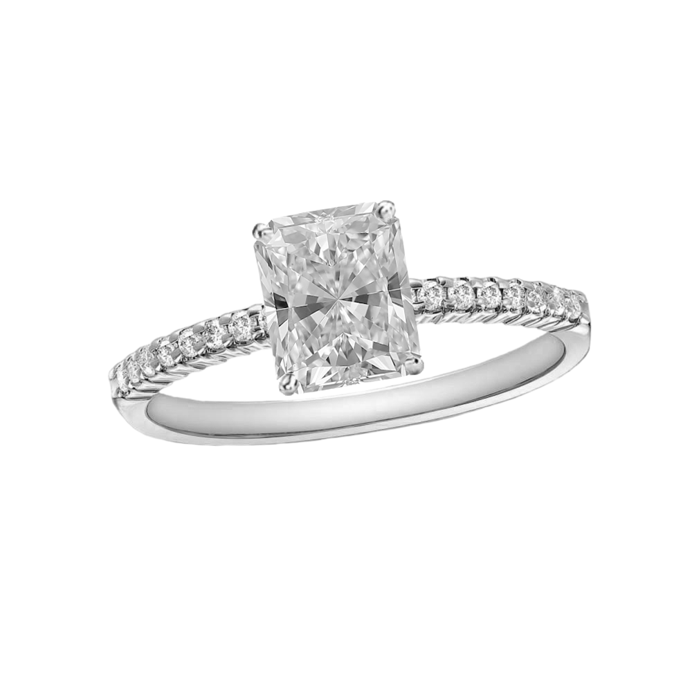 1 CARAT RADIANT-CUT DIAMOND (F+, VS) SOLITAIRE ENGAGEMENT RING 4-PRONG WITH 1/5 CARAT SIDE STONES - Eternity Diamond Rings
