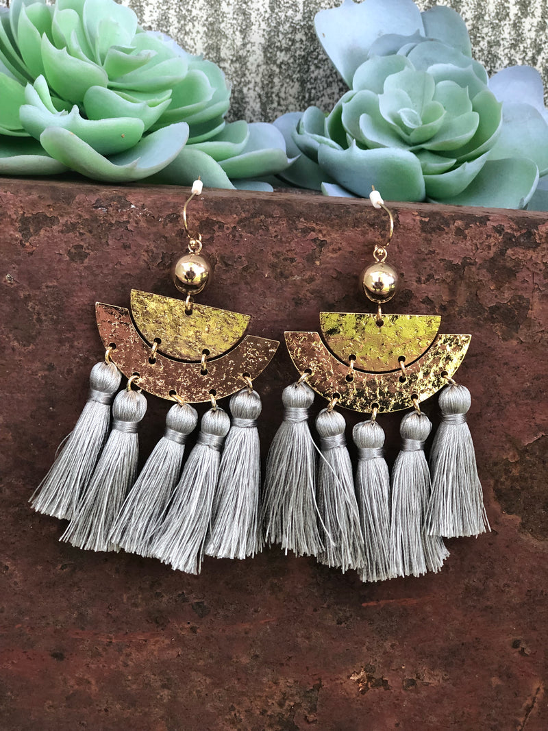 Tassel Earrings (gray and black)
