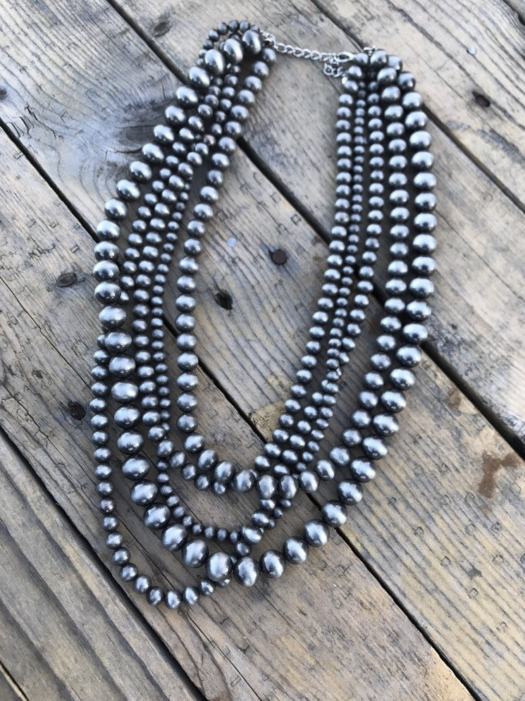 Multi Strand Western Pearl Necklace