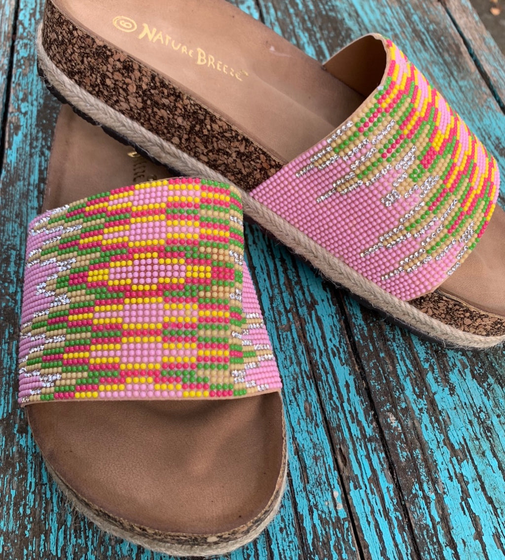 Pink Aztec Studded Sandals