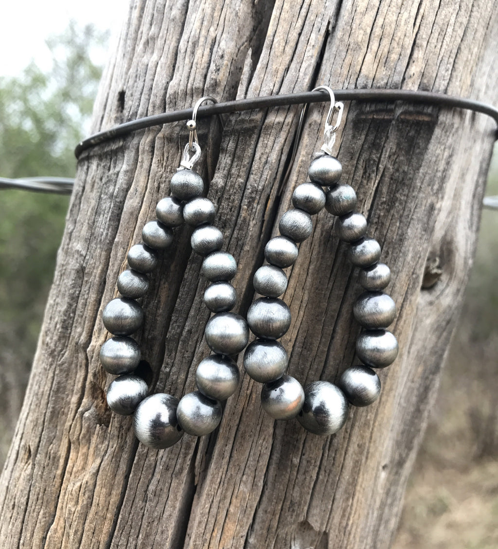 Western Pearl Hoop Earrings