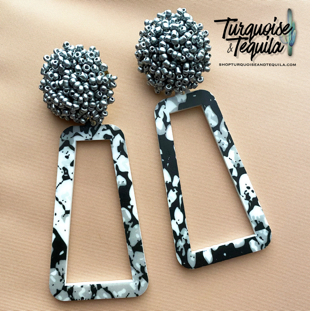 Silver Pom Snake Earrings