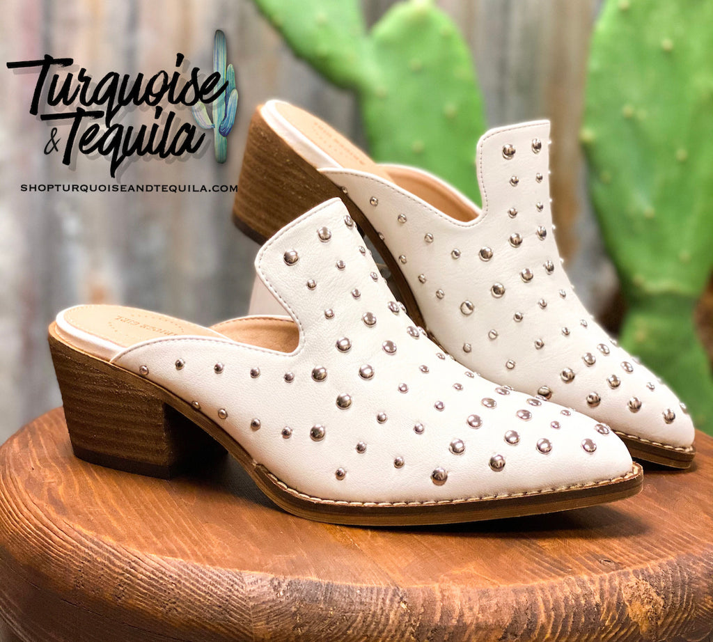 Cara Studded Mules- White
