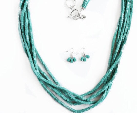 Square Beaded Turquoise Necklace and Bracelet
