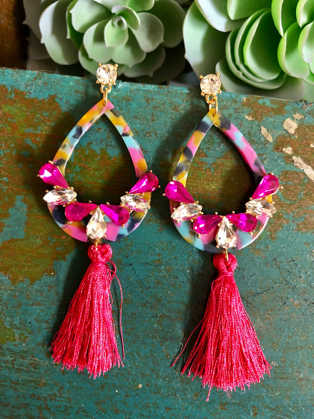 Jeweled Tassel Earrings (More Colors)