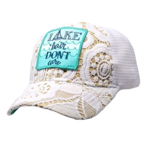 """Lake Hair Don't Care"" Lace Judith March Cap"