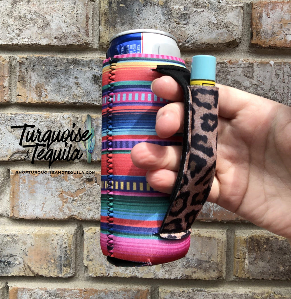 Slim Fit Can Cooler - Serape and Leopard