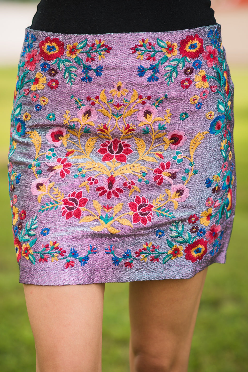 Spacey Lilac Embroidered Skirt